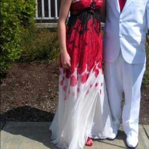 Terani Couture red, white, and black prom dress
